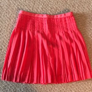 J.Crew coral pleated skirt